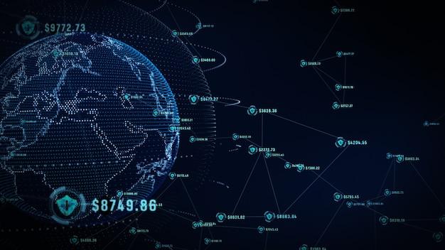 Icona scudo su rete globale sicura, rete tecnologica e concetto di sicurezza informatica.