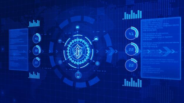 Icona scudo su secure digital data, concetto di sicurezza informatica