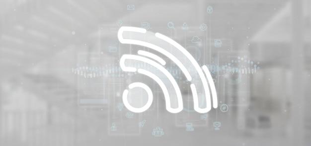 Icona wifi con dati tutto intorno