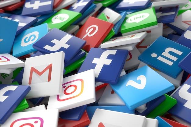 Icone casuali 3d di app della rete di media sociali