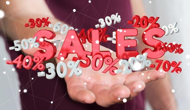 Icone di vendite della tenuta dell'uomo d'affari nella sua rappresentazione di 3d della mano
