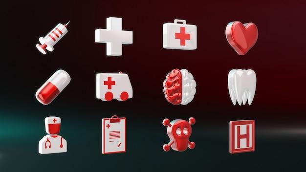 Icone mediche - illustrazione 3d