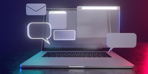 Icone olografiche 3d sul computer portatile con luce fioca - illustrazione 3d di uso sociale di media. tutti vivono in un'atmosfera futuristica. rendering 3d.