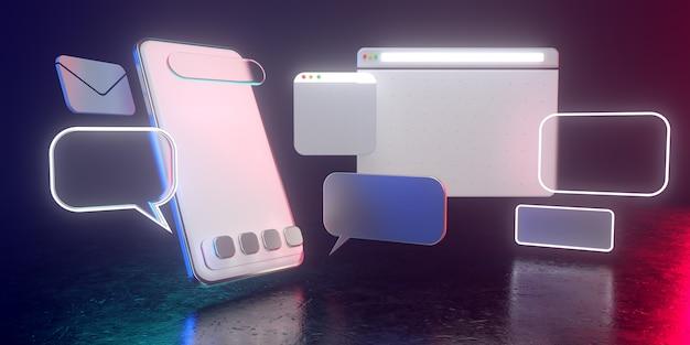 Icone olografiche dello smartphone 3d con luce fioca - illustrazione 3d di uso sociale di media dello smartphone. tutti vivono in un'atmosfera futuristica. rendering 3d.