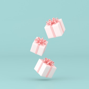 Idea concettuale minima della scatola attuale che galleggia sulla parete pastello. rendering 3d