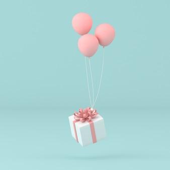Idea concettuale minima della scatola attuale galleggiante di palloncini sul muro pastello. rendering 3d