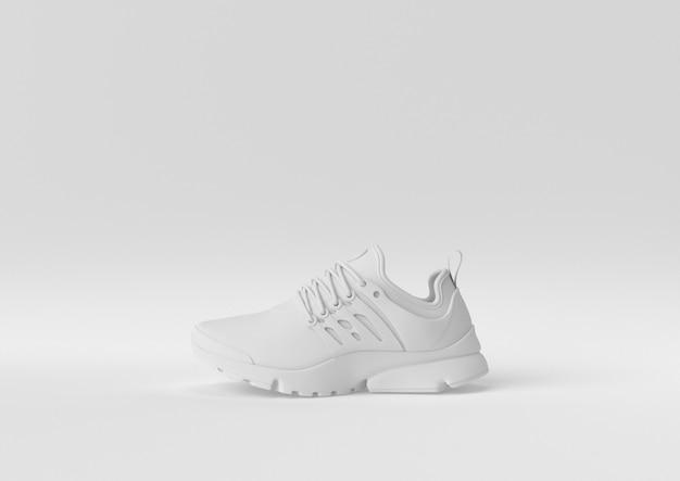 Idea creativa di carta minimale. scarpa bianca di concetto con fondo bianco. 3d rendono, illustrazione 3d.