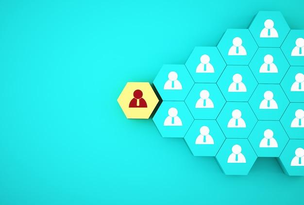 Idea creativa di concetto del concetto degli impiegati di affari di gestione delle risorse umane e di assunzione. disporre esagono giallo
