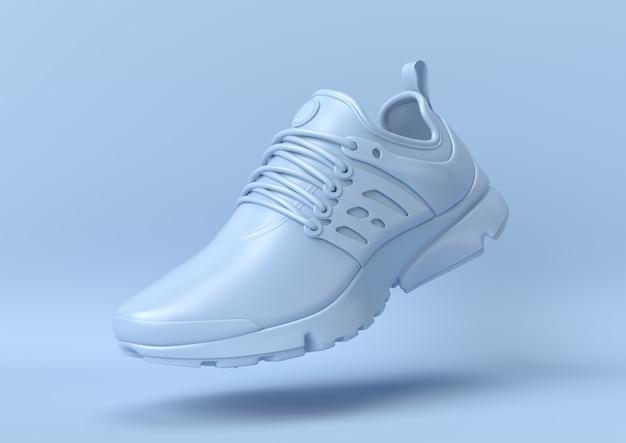 Idea creativa minimal estiva. scarpa blu di concetto con fondo pastello. rendering 3d