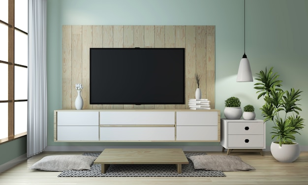 Idea di deridere sul gabinetto di legno su stile giapponese moderno della stanza di zen