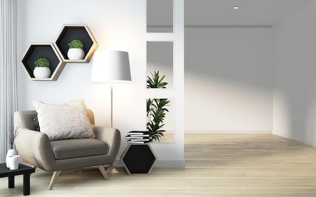 Idea di mensola esagonale design in legno su parete e poltrona in stile giapponese