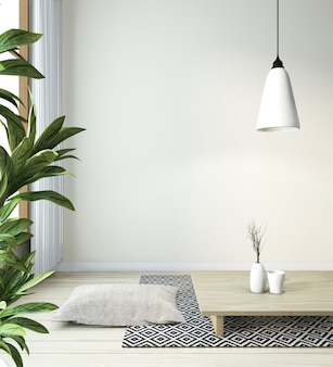 Idea di soggiorno giapponese con lampada, cornice, tavolo basso nero in camera parete bianca sul pavimento in legno. rendering 3d