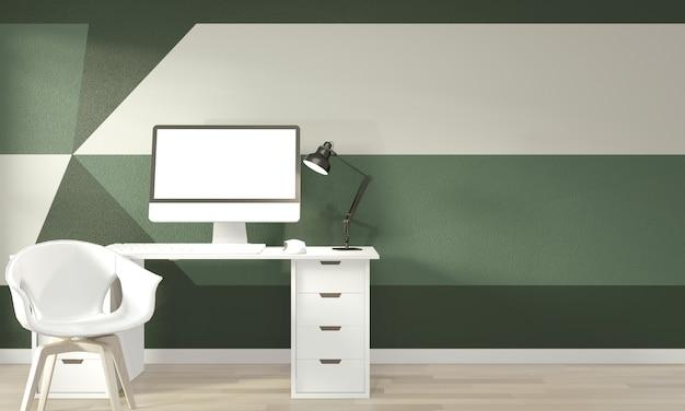 Idee di vivere la stanza verde geometrica wall art paint design stile completo di colore sul pavimento di legno