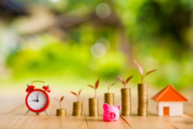Idee per risparmiare denaro per case, idee finanziarie e finanziarie, risparmio di denaro nel prepararsi per il futuro, crescere di monete