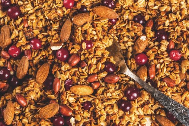 Idee per una colazione invernale, autunnale. ringraziamento,. granola di miele cotto fresco fatto in casa con nocciole, arachidi, nocciole e mirtilli rossi. sul tavolo di cemento grigio, vista dall'alto