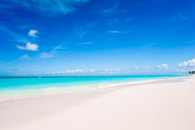 Idilliaca spiaggia tropicale nei caraibi con sabbia bianca