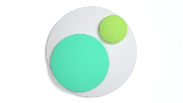Il 3d minimo 3d del cerchio bianco verde astratto 3d rende