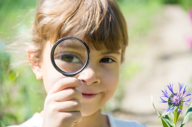 Il bambino sta guardando in una lente d'ingrandimento. aumentare. messa a fuoco selettiva.