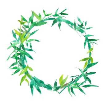 Il bambù verde lascia la struttura, la struttura naturale del cerchio della corona, illustrazione isolata dell'acquerello