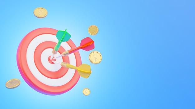 Il bersaglio per le freccette con la freccia al centro e le monete rappresenta il concetto di business nella rappresentazione 3d
