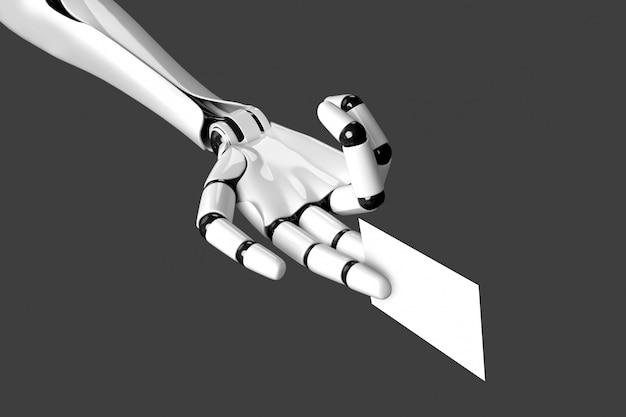 Il braccio del robot che alimenta un biglietto da visita in bianco