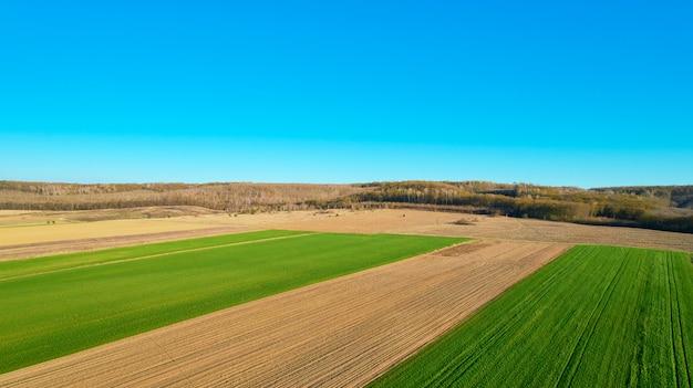 Il campo verde è al tramonto sparato con il drone