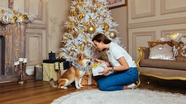 Il cane shiba inu con decorazioni lucide è in attesa di un regalo, seduto sul pavimento di fronte a una giovane donna bruna