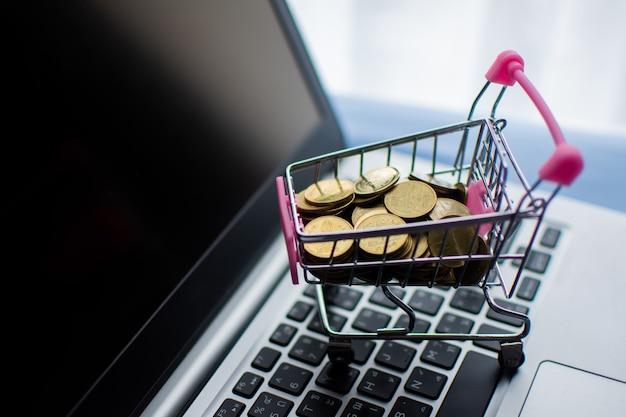 Il carrello e soldi dei soldi coniano sul computer, comperante concetto online.