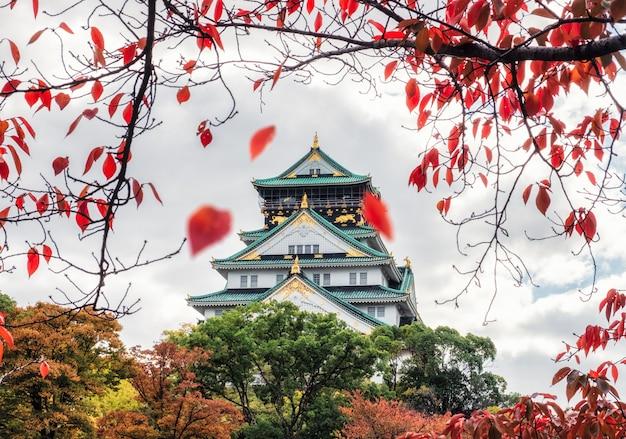 Il castello di osaka dell'architettura con le foglie rosse che cadono in autunno parcheggia a kyoto