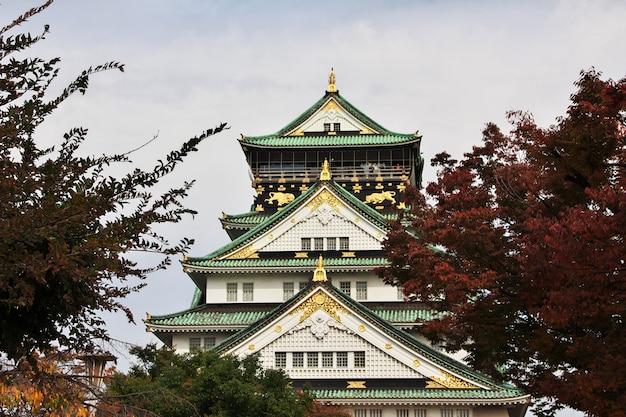 Il castello medievale in autunno, osaka, giappone