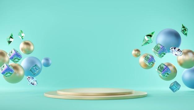 Il ciano podio pastello deride la geometria del modello del supporto per la pubblicità del prodotto e la pubblicità, il rendering 3d.
