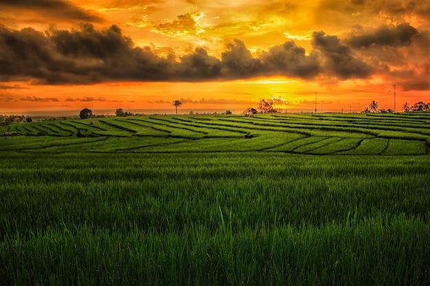 Il cielo della sera abbagliante con incredibili opere d'arte naturali con indonesiano
