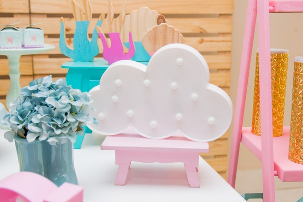 Il cloud era usato per decorare una festa per bambini