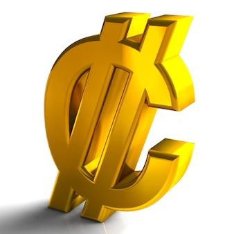 Il colore 3d dell'oro di simboli di valuta dei due punti della costa rica rende isolato su fondo bianco
