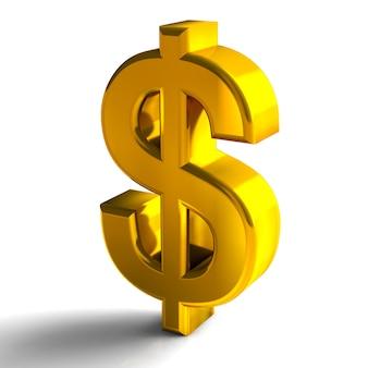 Il colore 3d dell'oro di simboli di valuta del dollaro rende isolato su fondo bianco