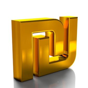 Il colore 3d dell'oro di simboli di valuta di israel shekel rende isolato su fondo bianco