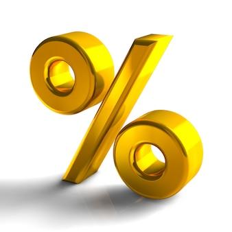 Il colore 3d dell'oro di simbolo del segno di percentuale rende isolato su fondo bianco
