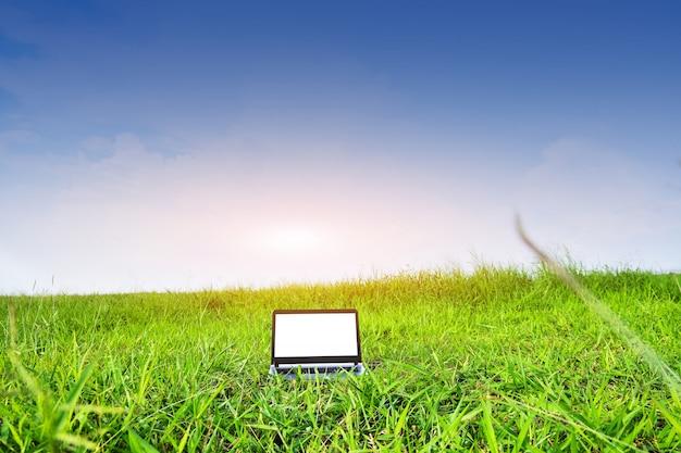 Il computer è sul campo verde sotto il cielo blu, il concetto di tecnologia business computer e design