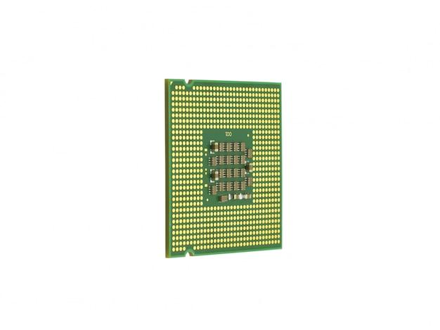 Il computer il processore è isolato color oro con un microcircuito