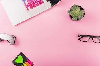 Il computer portatile; perforatrice; pianta in vaso e spettacoli su sfondo rosa