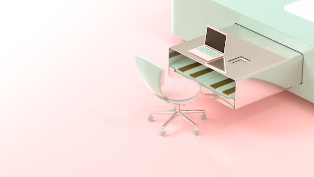 Il computer portatile sul colore rosa e verde di figura della tavola della chiavetta usb, 3d rende.