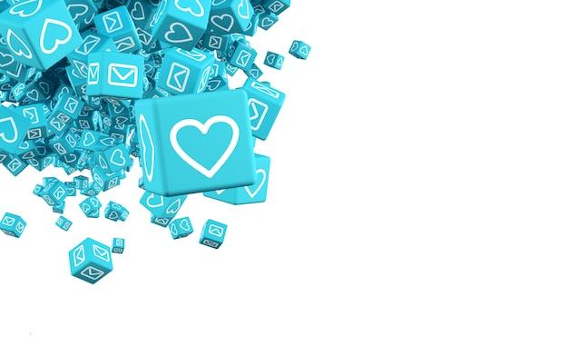 Il concept art sul tema dell'illustrazione di social networking 3d
