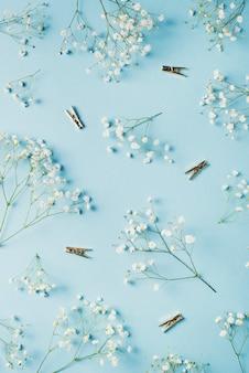 Il concetto funy piano della carta blu pone il giorno di madri, il compleanno, il matrimonio, l'ufficio con i fiori