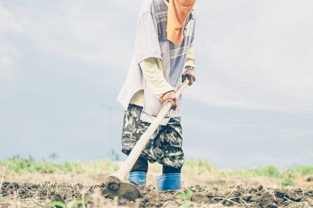 Il contadino thailandese sta zappando la sua terra agricola