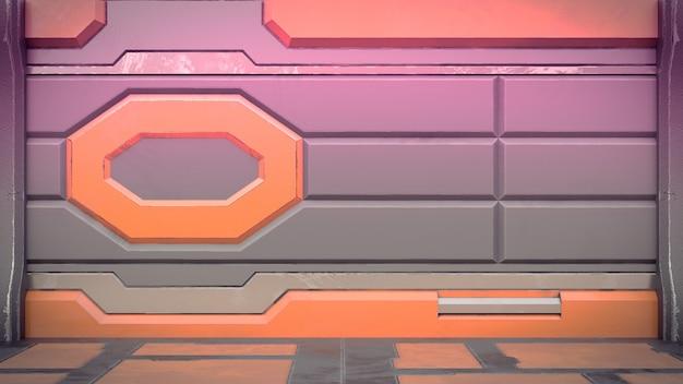 Il corridoio interno 3d della stazione spaziale di fantascienza rende
