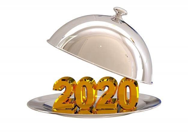Il cromo della cloche si apre con il nuovo anno 2020 sul piatto in ristorante isolato su bianco