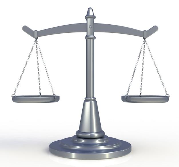 Il cromo riporta in scala la giustizia isolata su fondo bianco, rappresentazione 3d