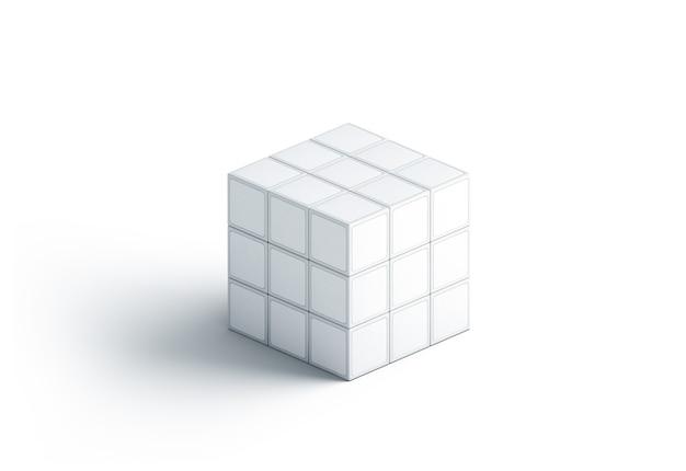 Il cubo bianco in bianco di rubriche deride su, isolato