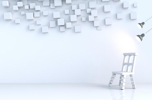 Il cubo geometrico bianco modella la parete nella stanza bianca