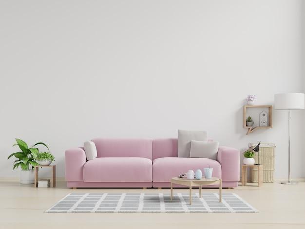 Il divano rosa nella parete del soggiorno è di colore bianco.